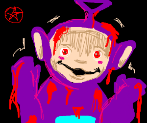 satanic purple teletubbie covered in blood