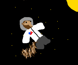 squirrel in space suit floating in space