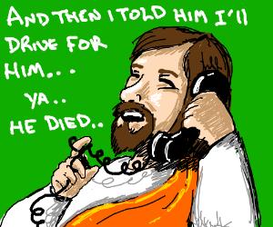 Jesus on landline phone.