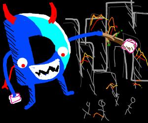 Drawception devil terrorizes, eats marshmalows