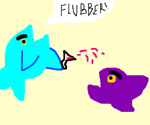 angry fish splashes other fish with drink