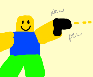 Roblox Character With A Gun Drawing By Holographicboi Drawception