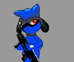 Riolu with a shotgun