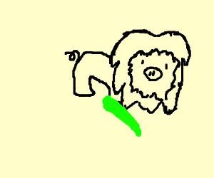 Weird pig-lion fusion with green stick