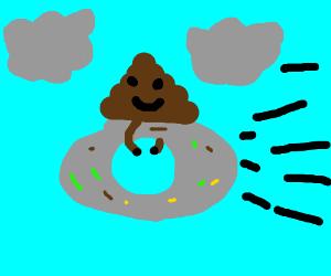 poop riding a farting grey doughnut?