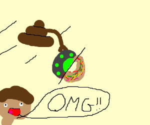 OMG!! a flying poop carrying a UFO or donut