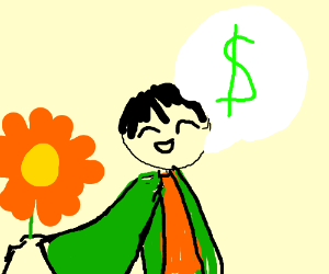 guy in trench coat trying to sell flowers to u