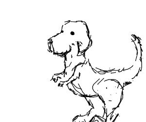 A t-rex with a dog head.