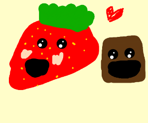 Strawberry and brown cube are bffs