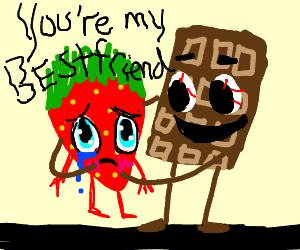 kawaii strawberry hugged by creepy chocolate