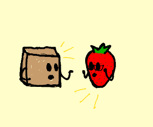 box talking to a really smart strawberry