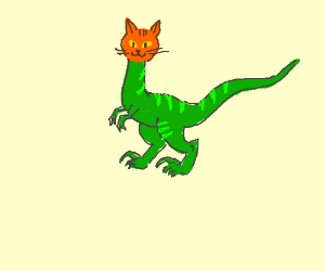 A velociraptor mixed whit a cat head