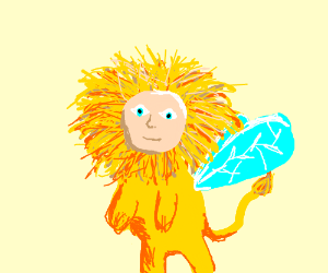 lion whit fly wings anda human face whit a gun