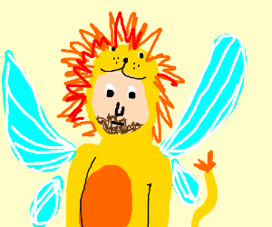 Man in lion costume with fly wings