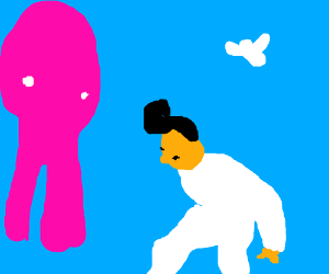 Elvis chills with big legged pink blob & bird