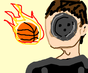 flaming basketball hits button-face man.