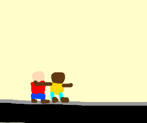 guy walk with other black guy