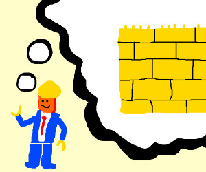 Trump Lego Minifigures thinks about walls