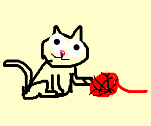 A cat with a ball of yarn