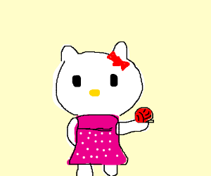 Hello Kitty plays with her fave ball of yarn!