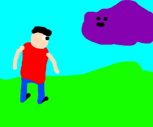 Boy in a red shirt looking at a purple cloud