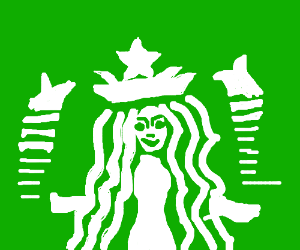 A Retarded Version Of The Starbucks Logo Drawing By The Living