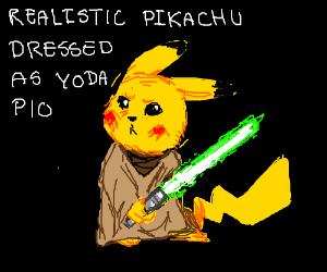 Realistic Pikachu dressed as Yoda P.I.O.