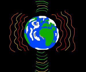 Earth exposed to intense colorful radiation