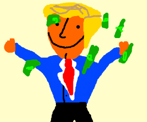 trump dancing in money rain