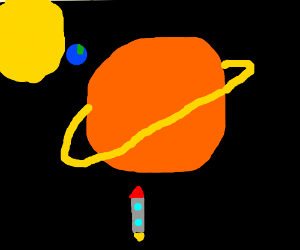 Solar system. Close up of Saturn + Spaceship
