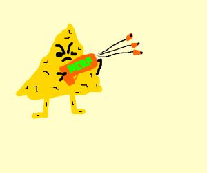 angry nacho man with nerf gun