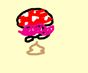 pooping mushroom with pink moustasch