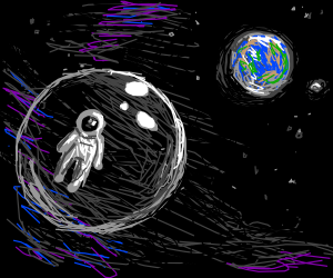 Guy floating through space in a bubble