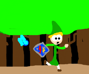 Link and Navi in a forest