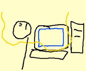 Wrinklynoodlearmman looks up while on computer