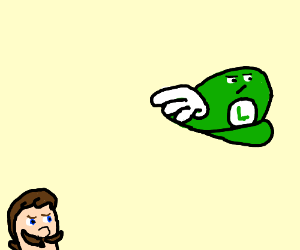 Luigi's hat flies away in disgust