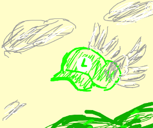 Luigi's hat flies away.