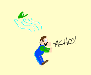 Luigi sneezes; hat flies away