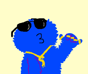Gangster Cookie Monster Drawing By Siborg Drawception