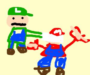 Green Mario Smothers Mario with a Pillow