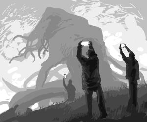 Men taking pics of a gigantic cthulu monster