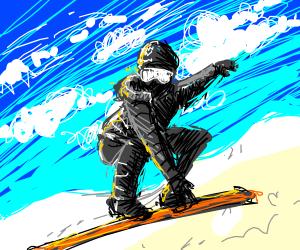 A snowboarder snowboarding.