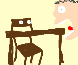 Man eating a table while a chair watches