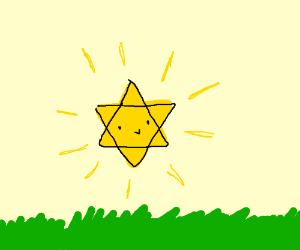 the damn sun emoji but colored like flesh - Drawception