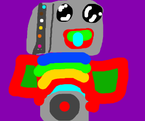 a colorful robot