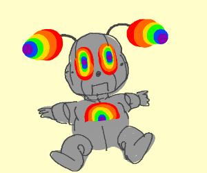 Rainbow robot baby