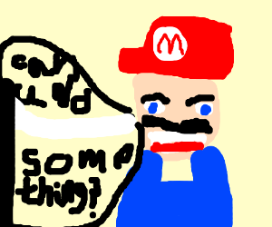 mario asking some one to do some thing
