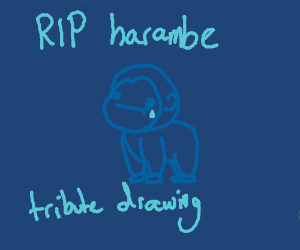 A tribute drawing for harambe. #rip