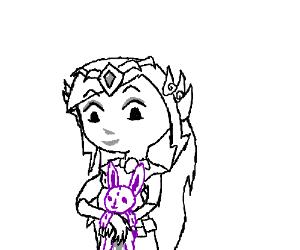 Zelda with a Purple Stuffed Bunny