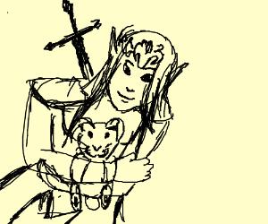 Princess Zelda hugs a bunny plushie